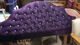 Stunning Purple Double Headboard ( 4 ft 6) with Crystal Detail