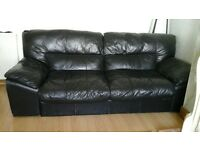 large 4/5 black leather sofa 60