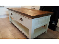 matching pair of cream and oak topped coffee table and tv unit