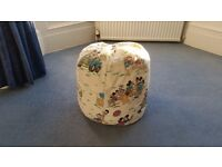 Large White Beanbag or Bean Bag with Ducks & Mickeys, Good condition, Contact me soon as, Cheap £8
