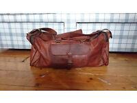 Vintage Style Handmade Genuine Brown Leather Duffle Bag