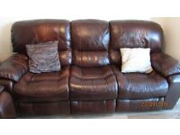 3 seater and 2 seater leather recliner settee