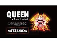 2 x Queen & Adam Lambert - o2 - Mon 2nd July