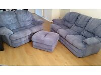 FREE Sofas and footstool slate blue