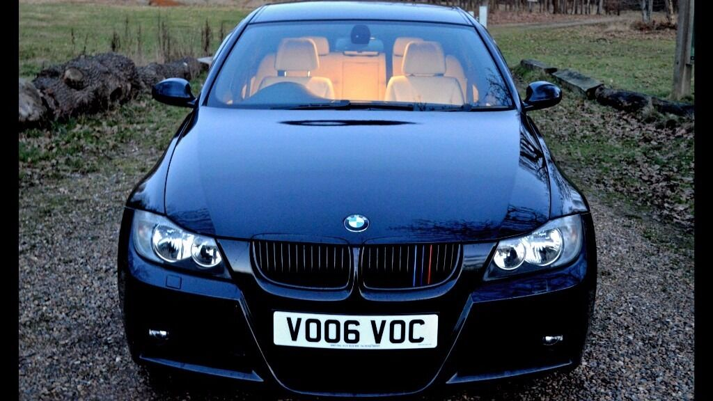 rare manual bmw 330d m sport saloon saphire black with ivory