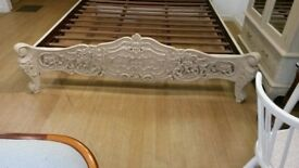 Gorgeous hand carved bed frame and mattress for sale frame/Mat originally cost £2500 immaculate cond