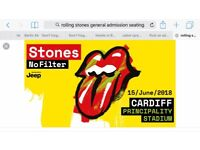 Rolling Stones Cardiff gerenal admission unreserved standing or sitting tickets x2