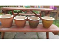 4 small ceramic garden pots
