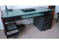 Large Desk with Smoked Glass Top - plus matching Filing Cabinet.