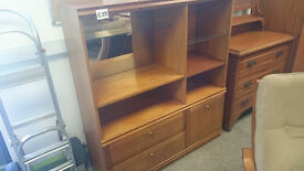 Large display unit with mirror backing drawers shelving storage