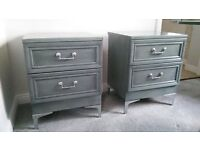 Beautiful Grey Bedside Drawers Cabinets Tables Chrome Legs - Can Deliver