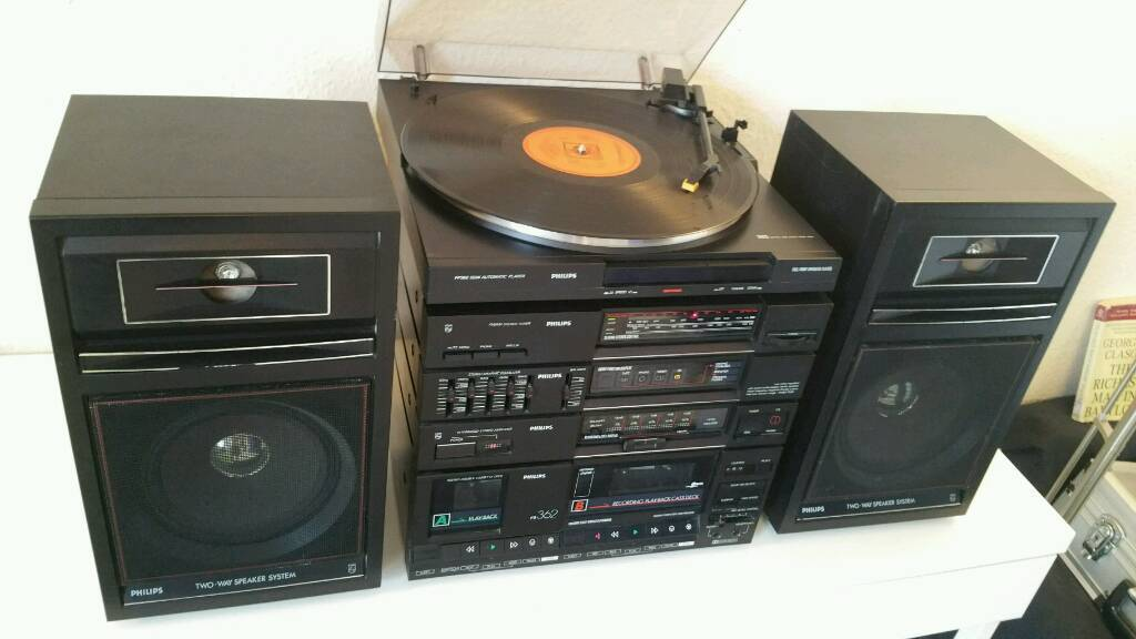Philips Turntable Stereo Hifi System Eqs Speakers Tape