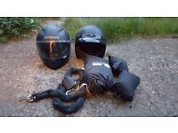 Helmets, chain, jacket and trousers ect