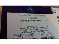 3 X CHEAP DRAKE Boy Meets World MONDAY 30th Tickets