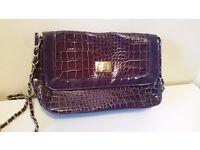 Purple patent/ croc effect clutch/ shoulder handbag (Excellent condition)