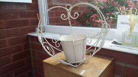 Decorative white Hanging plant container