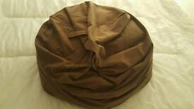 Chocolate brown faux suede bean bag