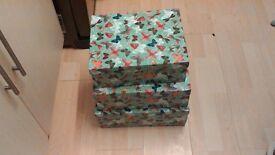 Set of three storage boxes. Large,medium,small.