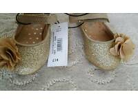Debenhams gold sparks shoes size 4