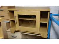 OAK VENEER TV STAND UNIT WITH GLASS DOOR
