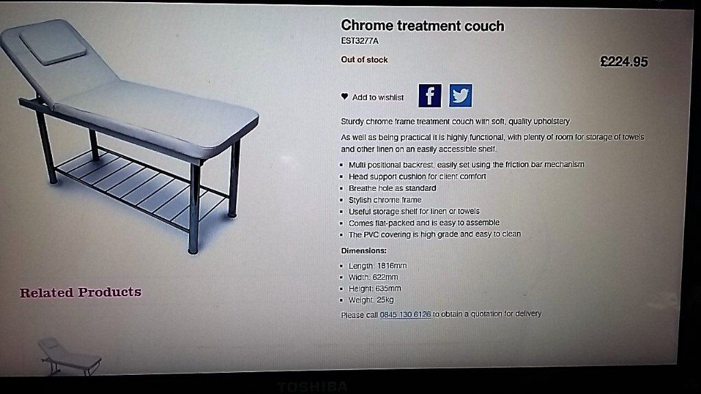 Brand new in box Chrome treatment couch