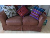 Leather brown 2 seatter sofa