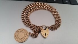 9ct gold albert watch chain bracelet stampt every link rose gold 20g