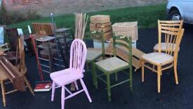 Vintage furniture for sale Chairs bedside cabinets etc all £10 or less