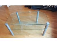 """TV Stand Table in Brushed Chrome legs with 3 heavy duty clear glass shelves. Width 42"""" (suit 42"""" TV)"""