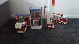 Playmobil fire station and 2 fire engines