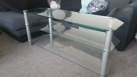 3 shelf glass coffee table/tv unit