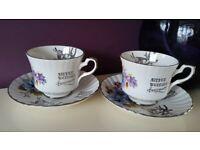 Silver wedding anniversary cups & saucers Royal stafford bone china