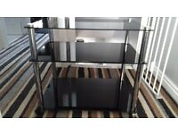 Black glass tv stand and table