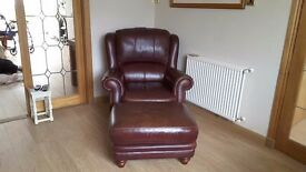 Leather chair with matching stool