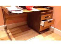 Solid, metal framed desk and drawers