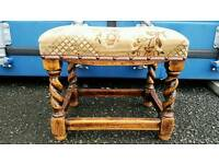 Lovely antique vintage windsor twist legged farmhouse footstool stool