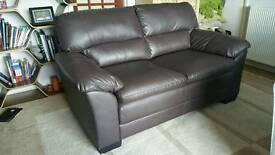 2 Seater Brown faux leather sofa for sale