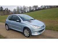 PEUGEOT 206 1.6 AUTOMATIC,1 YEAR MOT,VERY LOW MILEAGE ONLY 48183,CAMBELT CHANGED(43348),1LADY OWNER