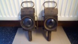 Antique Raydyot Candle Gig Carriage cart lamps pair Patent number 178544
