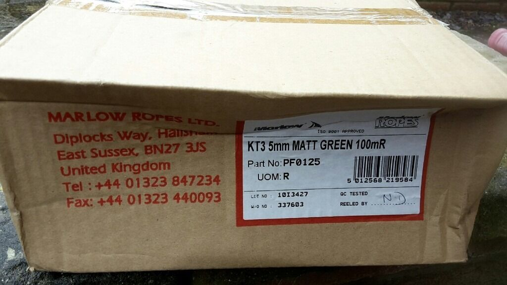 KT3 5mm Matt Green 100mR ropein Locks Heath, HampshireGumtree - KT3 5mm Matt Green 100mR rope, brand new, never been used. Still in its box. Can be cut smaller. Email for more info