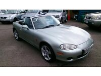 VERY CLEAN 2003 MAZDA MX5 1.6 NEVADA SOFT TOP MAY 2017 MOT ONLY 69K WITH F/S/H CD ALLOYS R/C/L E/W +