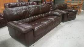 Real leather 3 seater and chair in vgc can deliver 07808222995