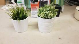 Artificial kitchen plants and pots