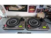 Numark Pro TT-1 Direct Drive Turntables/DJ Decks + Lids and Headphones (Technics,Vestax,Stanton)