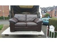2 seater sofa in brown leather in excellent condition £120 delivered