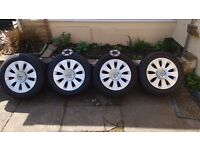 Audi alloy wheels with tyres for VW T25 campervan with 2 10mm spacers