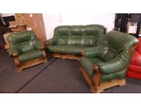 Leather 3 pc suite Ascot Green Sherwood Chesterfield Style