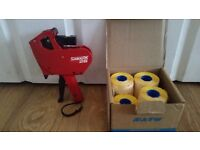 Price gun for retail shop warehouse with 11 rolls of yellow labels 12mm x 26mm