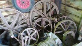 Iron wheels shepherds hut garden shed