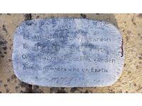Engraved Garden Stone Plaque